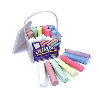 20 Colourful Jumbo Playground Chalks for Kids
