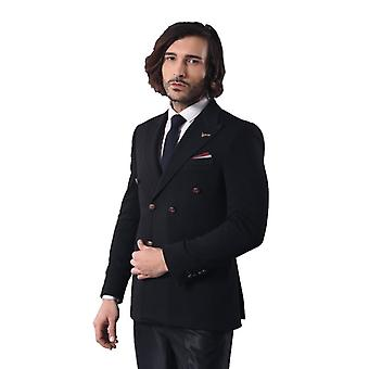 Double breasted slim fit black blazer