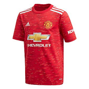 adidas Manchester United 2020/21 Kids Short Sleeve Home Football Shirt Red