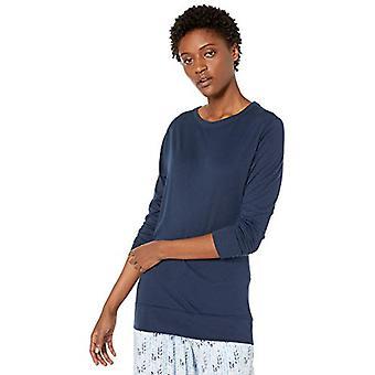 Brand - Mae Women's Cotton Modal Long Sleeve Lounge T-Shirt, navy, X-L...