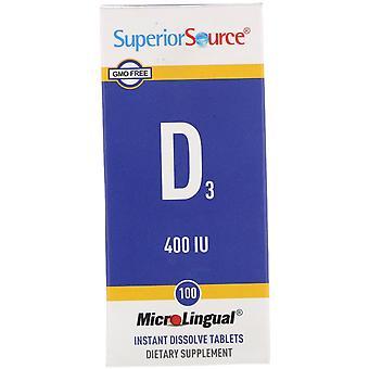 Superior Source, D3, 400 IU, 100 MicroLingual Instant Dissolve Tablets