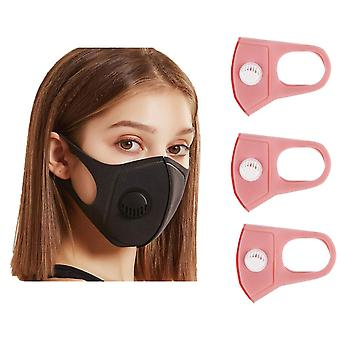 3x Face Mouth Mask with breathing valve, Pink, Washable Mouth Guard