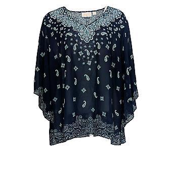 Belle by Kim Gravel Women's Plus Top Printed Woven Blouse Blue A373653