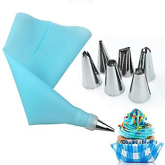 Stainless Steel Nozzles And Silicone Eva Pastry Bag Converter - 8 Pcs Set Cake