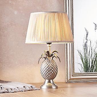 Endon Lighting Pineapple & Freya - Table Lamp Pewter Plate & Oyster Silk 1 Light IP20 - E27