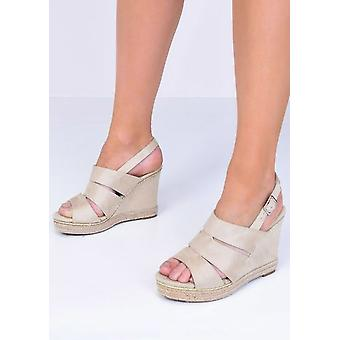 Braided Faux Suede Cut Out Wedge Sandals Beige