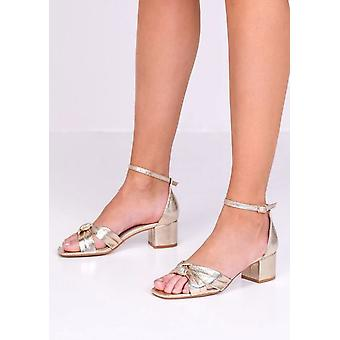 Faux Leather Knot Front Block Heeled Sandals Gold