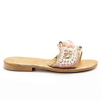 Pink Balduccelli Slipper With Pearls and Rhinestones