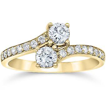 1.00Ct إلى الأبد بنا 2 حجر الماس الماس سوليتير الخطوبة خاتم 10k الذهب الأصفر
