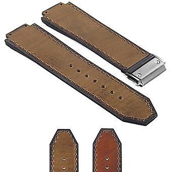 Strapsco vintage-läder-mocka-strap-for-hublot-big-bang-med-borstad-stål-lås