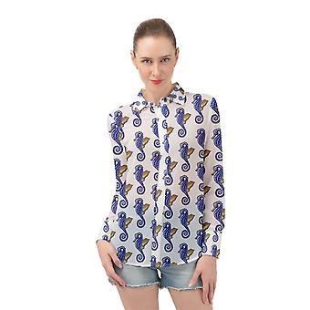 Seahorses Long Sleeve Top Chiffon Shirt