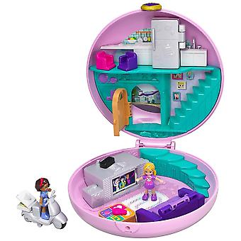 Polly pocket gdk82 pocket world donut pajama party compact with donut shape, surprise reveals, micro