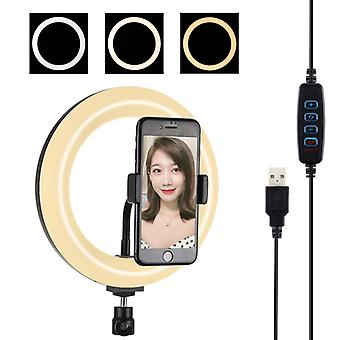 PULUZ 7.9 inch 20cm USB 3 Modes Dimmable Dual Color Temperature LED Curved Light Ring Vlogging Selfie Photography Video Lights with Phone Clamp(Black)