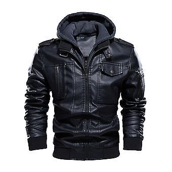 Allthemen Men's PU Hooded Coat Slim Casual Motorcycle Jacket