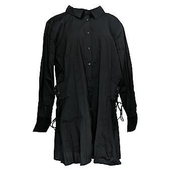BROOKE SHIELDS Timeless Women's Plus Tunic Shirt w/Corset Black A306653