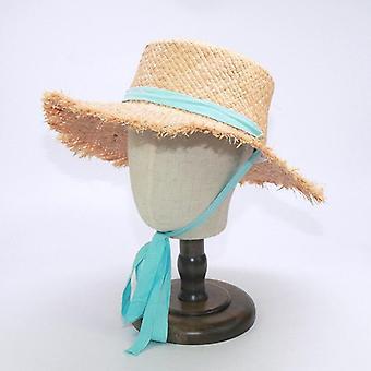 Ampio cappello da sole da spiaggia a tesa grande con cintura protettiva lunga di moda