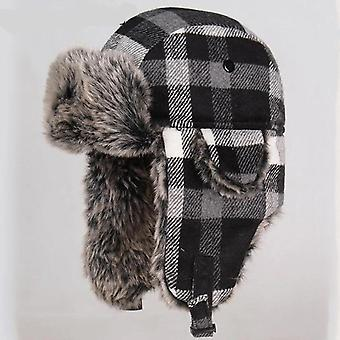 Windproof Women Thicker Plaid Russian Ushanka Hat
