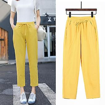 Spring/summer Cotton Linen Solid Elastic Waist Candy Colors Harem Trousers