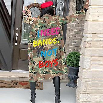 Plus Größe Camouflage Trenchcoat, Frauen Herbst Casual Letter Print Taschen lang