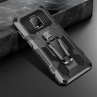 Funda Xiaomi Redmi Note 9 Case - Magnetic Shockproof Case Cover Cas TPU Black + Kickstand