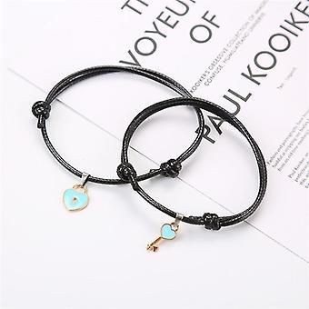 Couple Bracelet Alloy Key Heart Lock,handmade Rope-bracelet