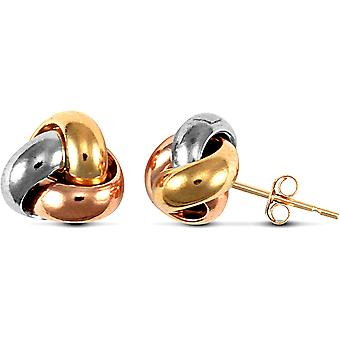 Jewelco London Ladies 9ct Yellow White and Rose Gold Trinity Love Knot Stud Earrings