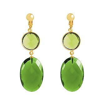 Gemshine oreille clips péridote et tourmaline verte quartz, argent ou or 925