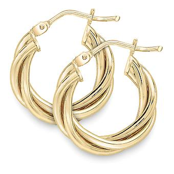 Jewelco Londres 9ct ouro Twist Hoop Brincos