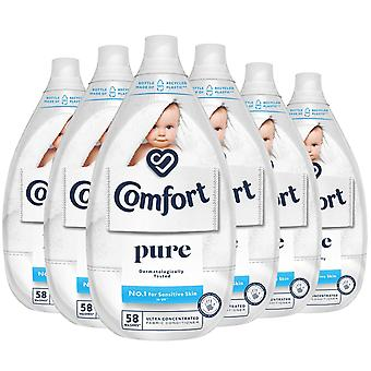 6x of 870ml Comfort Ultimate Care Pure Ultra-Concentrated Fabric Conditioner 58W