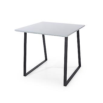 Tavolo quadrato Penny con gambe in metallo nero, grigio lucido alto