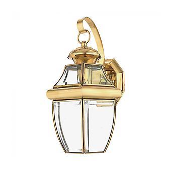 Lámpara De Pared Newbury, Latón Pulido Y Vidrio, Mediano
