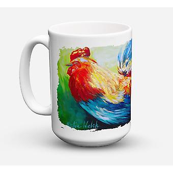 Caroline's Treasures MW1085CM15 Bird-Rooster Chief Big Feathers Microwavable Ceramic Coffee Mug, 15 oz, Multicolor