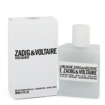 This Is Her Eau De Parfum Spray By Zadig & Voltaire 1 oz Eau De Parfum Spray