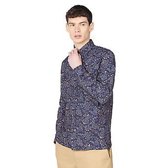 Camisa con estampado paisley grande azul