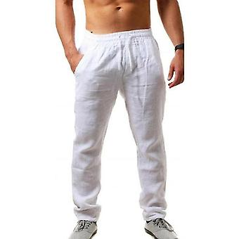 Loose Lightweight, Bottoms Solids Cotton, Linen Straight Trousers, Casual Long