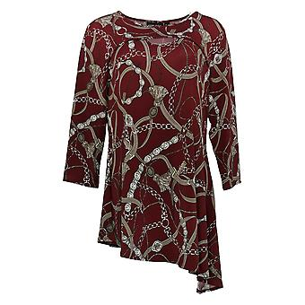 Women with Control Women's Top 3/4 Sleeve Tunic W/ Keyhole Neck Red A384214