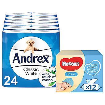 Andrex Carta igienica Bianco classico, 24 rotoli e huggies salviette per bambini pure, 12pk