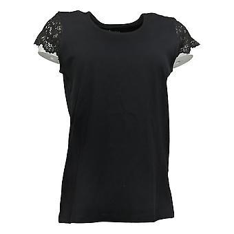 Denim & Co. Women's Top Jersey Scoop Neck Lace Cap Sleeve Black A378174