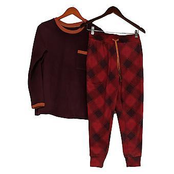 Cuddl Duds Donna Petite Fleecewear Jogger Pigiama Set Rosso A381826