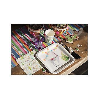 10 Assiettes en carton Lama Péruvien 23 cm