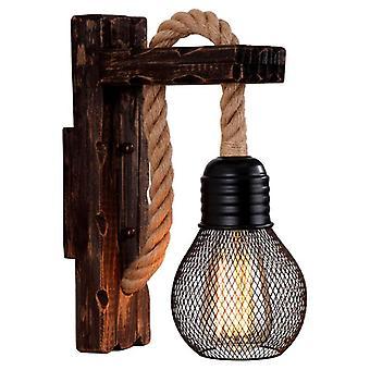 American lamp light retro hemp rope wall lamp