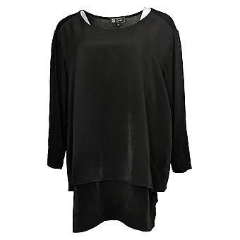 DG2 by Diane Gilman Women's Top Reg 3/4-Sleeve Easy Black 715078