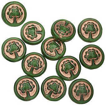 Tjeckiska glaspärlor, trädmynt 13,5 mm, grönt siden med koppartvätt, 1 strand, efter Korpens resa