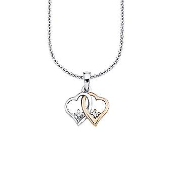 Amor Necklace for women with pendant, pattern: hearts, two-tone, silver 925 partially gold-plated with white zircons, 42 cm - Ref. 4020689188406