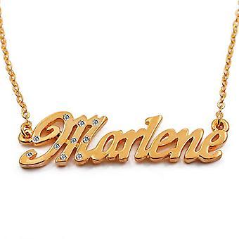 """L Marlene - 18-karat forgyldt halskæde, med tilpasselig navn, justerbar kæde af 16 """"- 19"""", i Regal Packaging"""