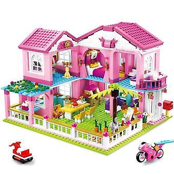 896 قطعة مجموعة من مدينة فتاة أصدقاء حديقة كبيرة فيلا لبنات البناء للأطفال 4+