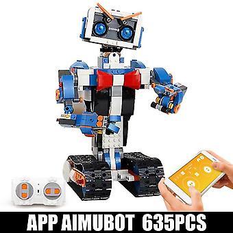 635 PCS Building Blocks New City High tech Robot APP Assembling Smart Toy Model|RC Robot(White)