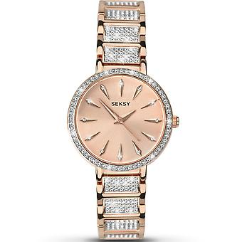 Seksy 2372 Aurora Stone Set Rose Gold Brass Ladies Watch