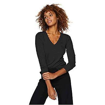 Brand - Lark & Ro Women's Long Sleeve V-Neck Sweater, black, Large