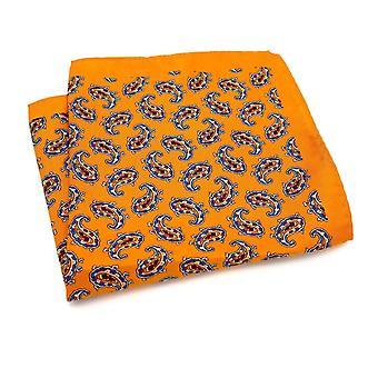 Palanut oranssi paisley kuvio suuri tasku neliö